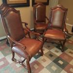 Set of Four Solid Wood & Leather Chairs. NOW ONLY $480